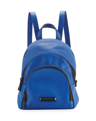 Sloane Mini Leather Backpack, Steel Blue