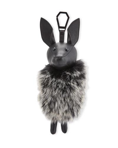Norman Faux-Fur Dog Charm for Handbag, Black/Gray
