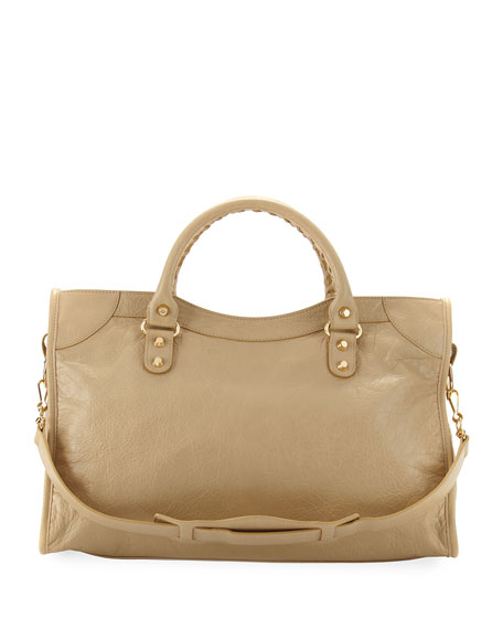 Classic City Golden Lambskin Tote Bag, Beige Sable (Beige Sable)