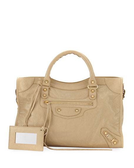 Classic City Golden Lambskin Tote Bag, Beige Sable (Beige Sable)