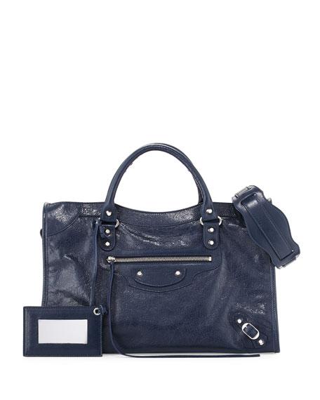 Balenciaga Classic City Lambskin Shoulder Bag, Blue
