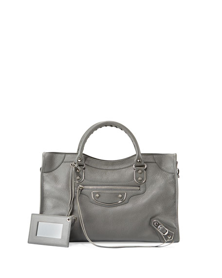 Balenciaga Classic Metallic Edge City Bag, Gris Acier