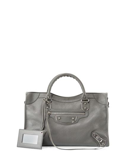 Balenciaga Classic Metallic Edge Nano City AJ Crossbody Bag, Dark Gray (Gris Acier)
