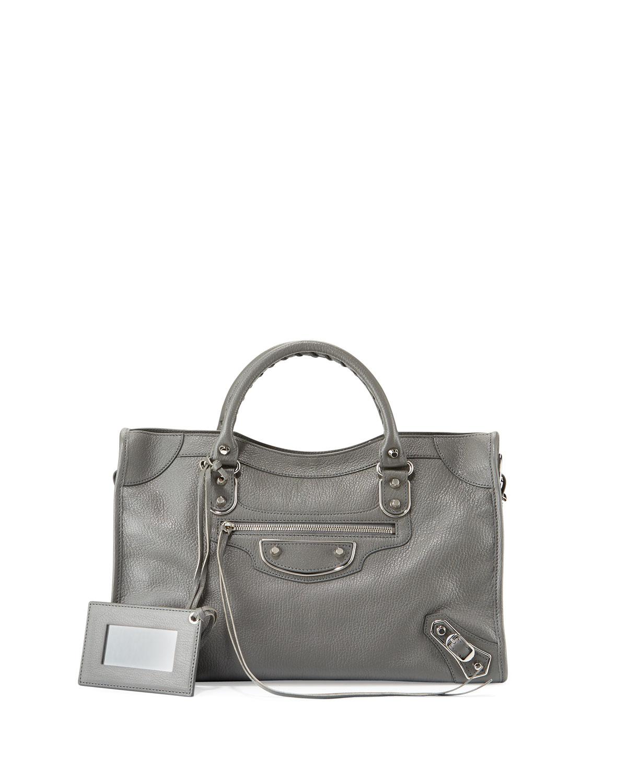 Balenciaga Classic Metallic Edge City Bag, Gris Acier
