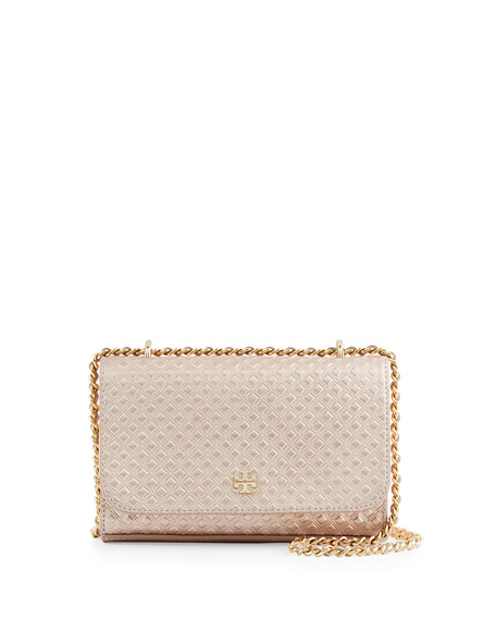 Tory Burch Marion Embossed Metallic Shrunken Shoulder Bag, Rose ...