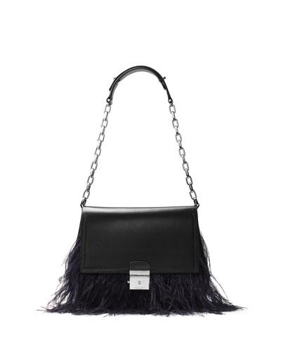 Mia Feather-Trim Trapeze Shoulder Bag, Black