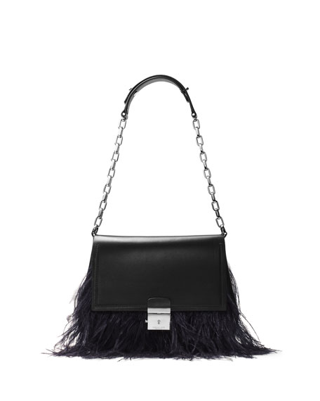 Mia Feather-Trim Trapeze Shoulder Bag, Black