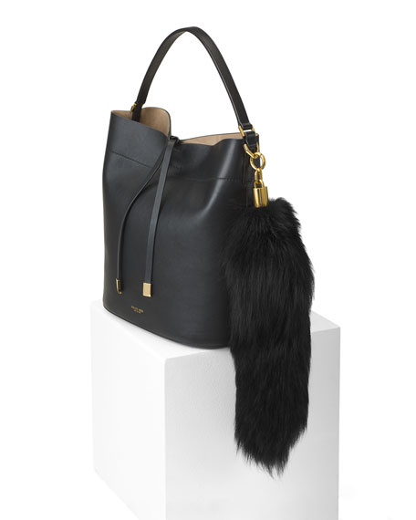 Fox-Fur Tail Keychain, Black