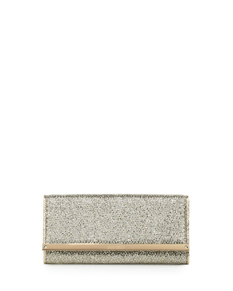Jimmy Choo Milla Glitter Fabric Clutch Bag, Champagne