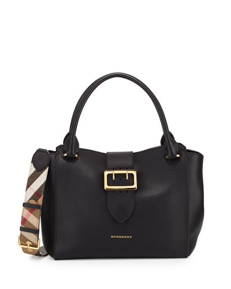 Burberry Buckle Medium Tote Bag, Black