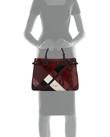 Banner Medium Patchwork Python Tote Bag, Pink