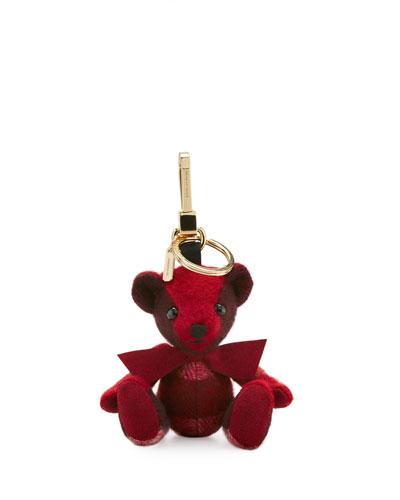 Thomas Bear Check Cashmere Bag Charm, Parade Red