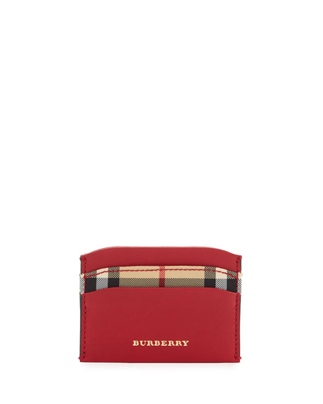 Burberry Izzy Horseferry Check Card Case, Parade Red