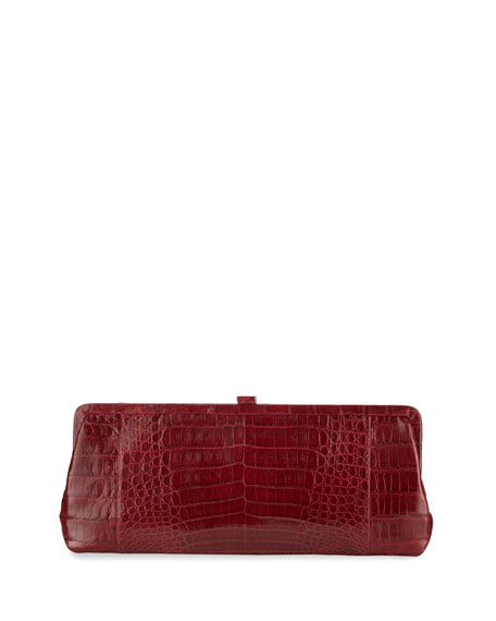 Small Frame Crocodile Clutch Bag, Red Shiny