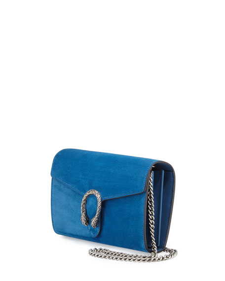 Dionysus Suede Mini Chain Bag, Blue