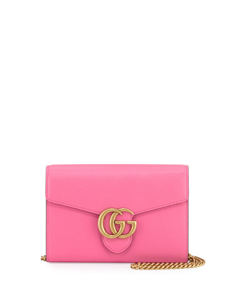 Gucci GG Marmont Leather Mini Chain Bag, Pink
