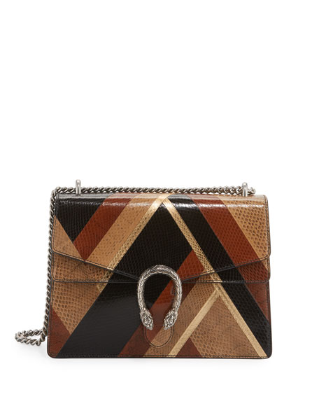 Dionysus Chevron Ayers Shoulder Bag, Black/Brown/Beige/Gold