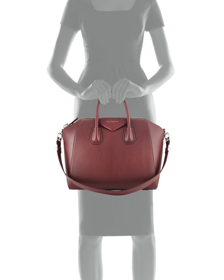 Antigona Medium Leather Satchel Bag, Red