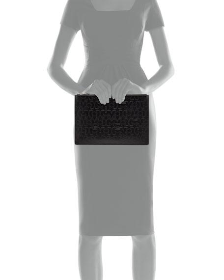 Star-Embossed Medium Pouch, Black