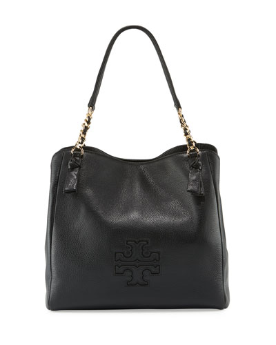 Harper Center-Zip Leather Tote Bag, Black