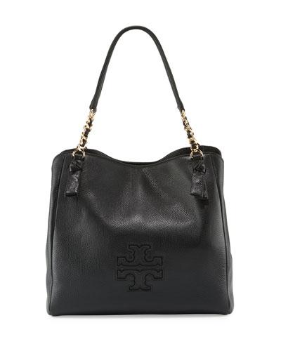 Harper Center-Zip Leather Tote Bag, Black