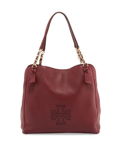 Harper Center-Zip Leather Tote Bag, Dark Merlot