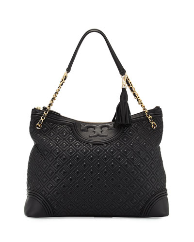 Fleming Quilted Leather Tote Bag, Black