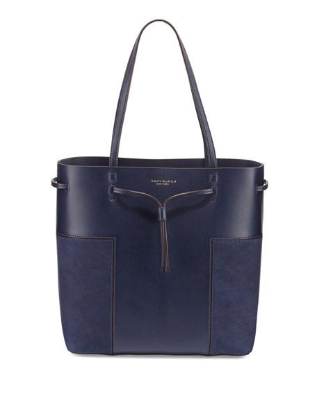Block-T Leather Bucket Tote Bag, True Navy
