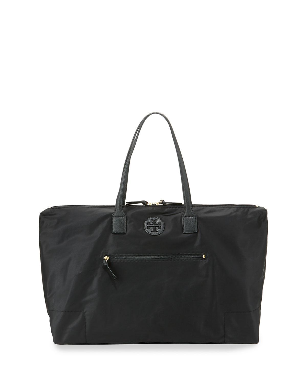 Tory Burch Ella Packable Overnight Satchel Bag, Black   Neiman Marcus bab9dd7963
