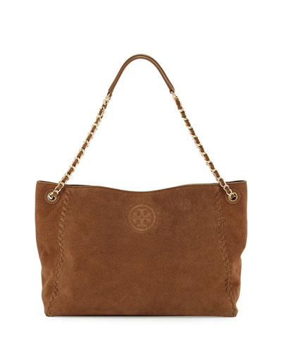 Marion Slouchy Suede Chain Tote Bag, River Rock