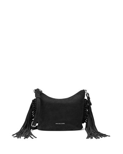 Billy Medium Fringe Messenger Bag, Black