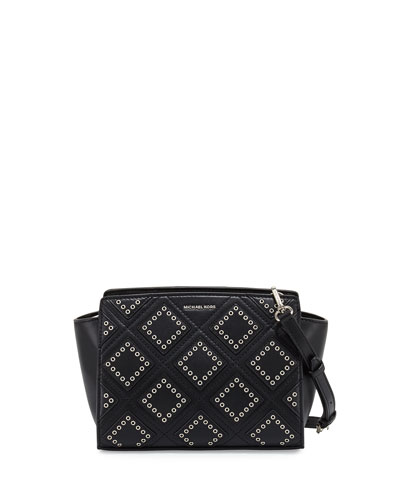 Selma Medium Diamond-Grommet Messenger Bag, Black