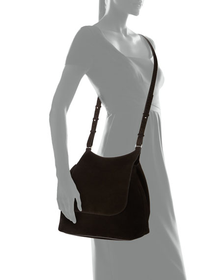 Sideby Suede Messenger Bag, Black