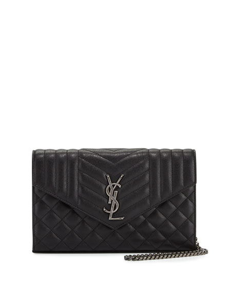 Saint Laurent Monogram Tri-Quilted V-Flap Wallet-on-Chain, Black : black quilted wallet - Adamdwight.com