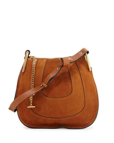 Hayley Small Suede Hobo Bag, Caramel