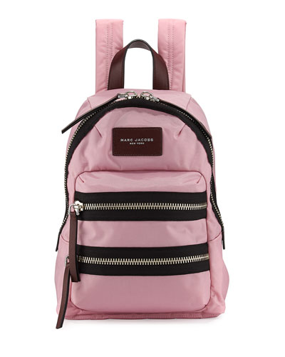 Nylon BIker Mini Backpack, Pink Fleur