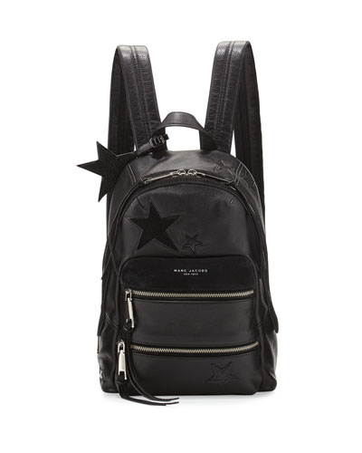 Star-Patchwork Leather Backpack, Black/Multi