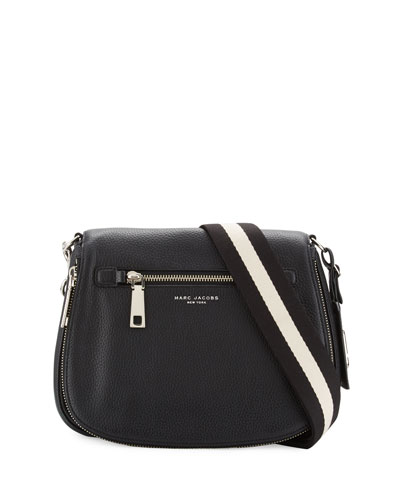 Gotham Leather Saddle Bag, Black