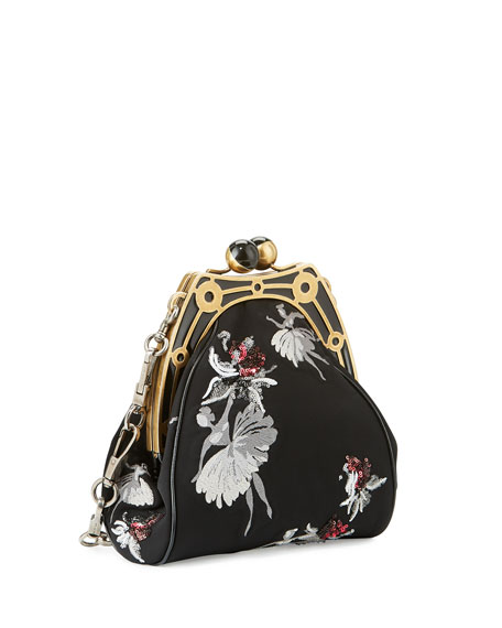 Ballerina-Embroidered Framed Shoulder Bag, Black