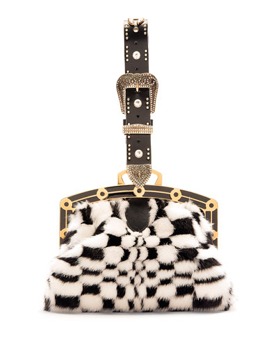 Fur-Check Framed Pouch Charm for Handbag, Black/White