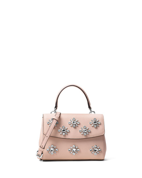Ava Extra-Small Jeweled Crossbody Bag, Ballet