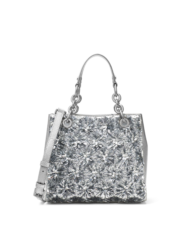 4feca7d44f9460 MICHAEL Michael Kors Floral Burst Small Satchel Bag, Silver | Neiman ...