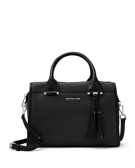 MICHAEL Michael Kors Geneva Large Leather Satchel Bag, Black