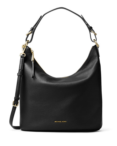 michael michael kors lupita large leather hobo bag black. Black Bedroom Furniture Sets. Home Design Ideas