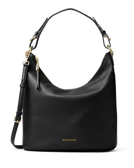 Lupita Large Leather Hobo Bag Black