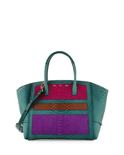 Brera 34 Python Sport Satchel Bag, Turquoise/Pink/Brown/Purple
