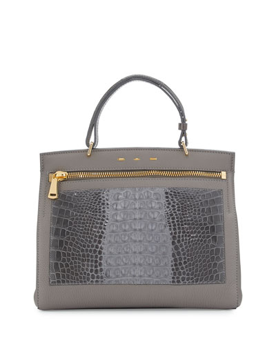 Margutta Alligator-Trim Top-Handle Satchel Bag, Gray