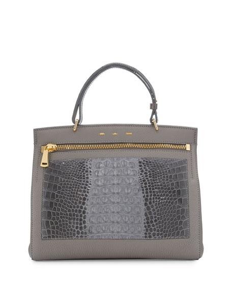 Margutta Alligator-Trim Top-Handle Satchel Bag, Gray