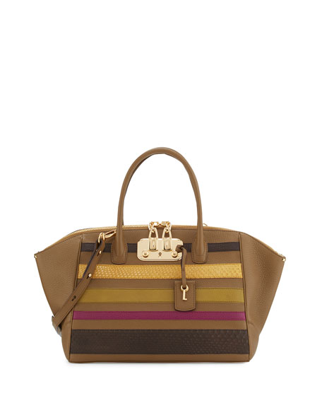 VBH Brera 34 Vitello & Python Striped Satchel