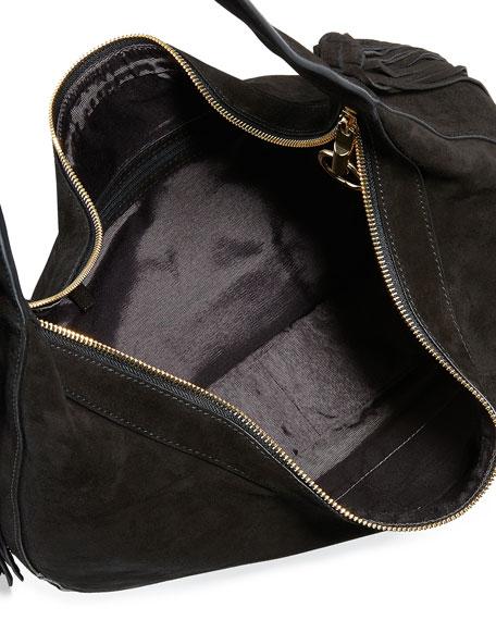Zoe Large Suede Hobo Bag, Black